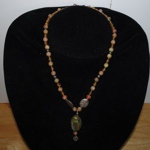 SS 925 Stone Beaded Pendant Necklace
